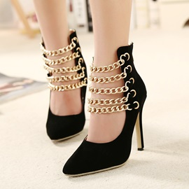 Pointed-toe Metal Chain Pumps