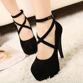Solid Color Platform Cross-Straps Heel Sandals