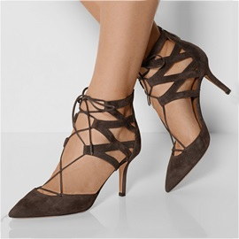 Suede Pointed Toe Lace-Up Pumps