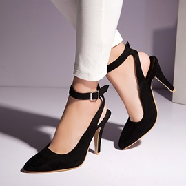 PU Buckle Pointed Toe Ankle Strap Classic Pumps