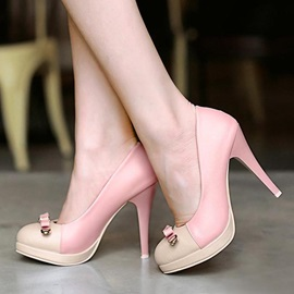 Sweet Round Toe Stiletto Heel Pumps