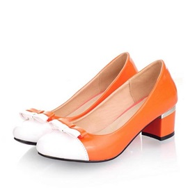 Color Block Round Toe Chunky Heel Pumps