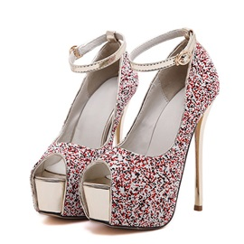 Sequins Peep-Toe Stiletto Heel Sandals