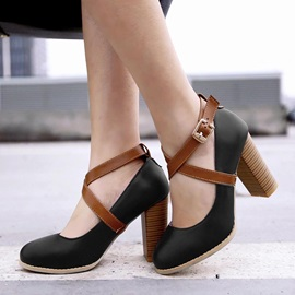 Strappy PU Buckles Chunky Heel Pumps