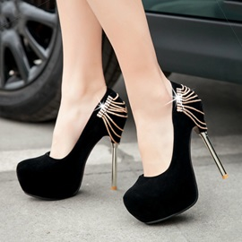 Chains Suede Stiletto Heel Platform Pumps