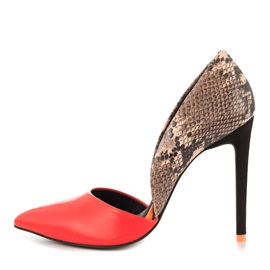 Snakeskin Printed Cut-Out Stilettos