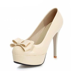 PU Bowknots Platform Stiletto Heel Pumps