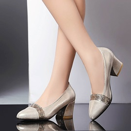 Sequins Round Toe Chunky Heel Pumps
