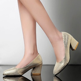 Embossed PU Chunky Heel Pumps