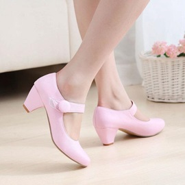 Sweet PU Round Toe Low Heel Pumps