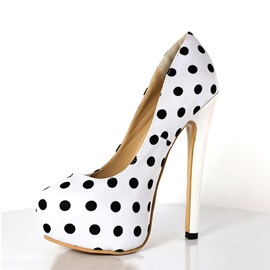Polk Dots PU Stiletto Heel Platform Pumps