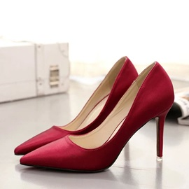 Solid Color Charmeuse Pointed Toe Pumps