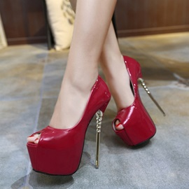 Faux Leather Peep-Toe High Heels
