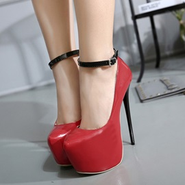 Faux Leather Ankle Strap Prom Shoes