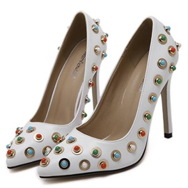 Korea Beads Thread Pointed-Toe Stiletto Heel Pumps