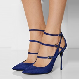 Suede Blue Line-Style Buckle Women's Pumps