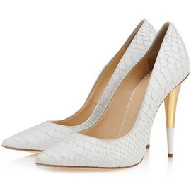Embossed Leather Pointed Toe Pumps