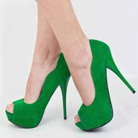 Suede Slip-On Peep Toe Platform High Heel Pumps
