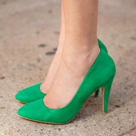 Simple Greenery Slip-On Stiletto Heel Women's Pumps