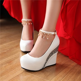 PU Line-Style Buckle Ultra-High Heel Women's Wedge Shoes