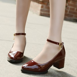 Vintage Patent Leather Line-Style Buckle Block Heel Pumps