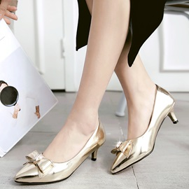 PU Slip-On Rhinestone Bow Pumps
