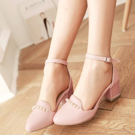 Cute PU Line-Style Buckle Beads Block Heel Women's Pumps