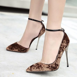 Suede Line-Style Buckle Stiletto Heel Elegant Women's Pumps