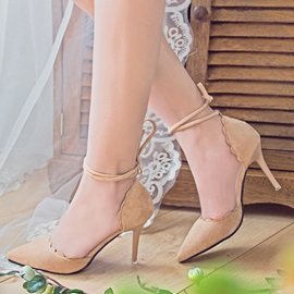 Suede Lace-Up Stiletto Heel Nice Shoes for Women