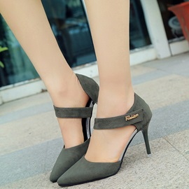 Suede Velcro Thread High Heels for Women