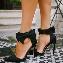 Sweet Black Side Bow Stiletto Pumps