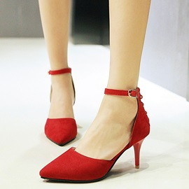 Suede Cross Strap Hollow Chic Women's Pumps
