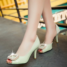PU Rhinestone Slip-On Peep Toe Stilettos