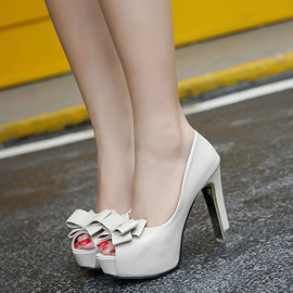 PU Bow Slip-On Low-Cut Upper Peep Toe Shoes