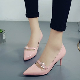 PU Pointed Toe Rhinestone Slip-On Classic Pumps