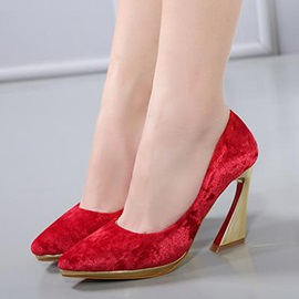 Faux Suede Pointed Toe Horse-Shoes Heel Pumps