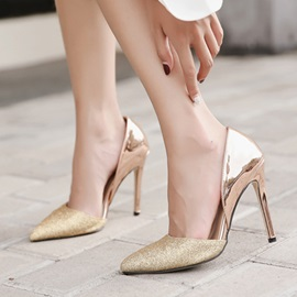 PU Pointed Toe Patchwork Slip-On Classic Pumps