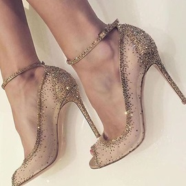 Faux Suede Peep Toe Rhinestone Rivet Pumps