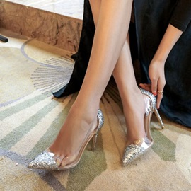 PU Slip-On Patchwork Pointed Toe Sequin Prom Shoes