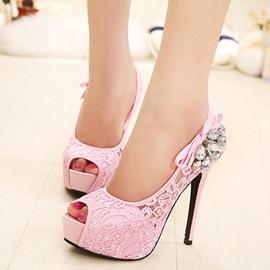Lace Bow Rhinestone Peep Toe Women's Pumps