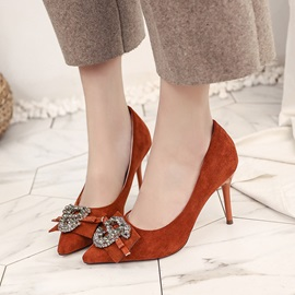 Suede Fabric Rhinestone Slip-On Women's Pumps
