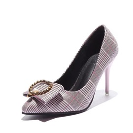 PU Plaid Beads Print Women's Classic Pumps