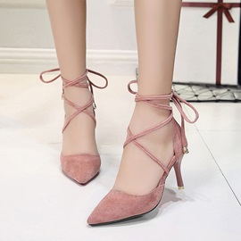 Suede Fabric Lace-Up Pointed Toe Classic Pumps