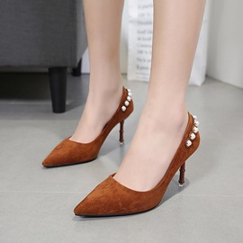 Suede Slip-On Beads Pointed Toe Women's Pumps