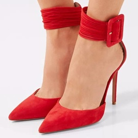 Plain Stiletto Heel Pointed Toe Red Pumps