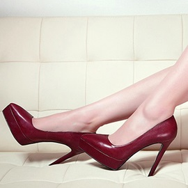 Plain Pointed Toe Stiletto Heel Red Pumps