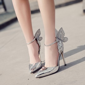 Wing Pointed Toe Plain Stiletto Heel Pumps
