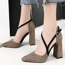 Faux Suede Buckle Pointed Toe Pumps