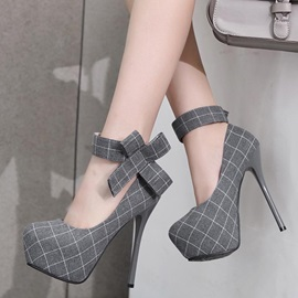 Plaid Round Toe Platform Stiletto Heel Women's Sandals