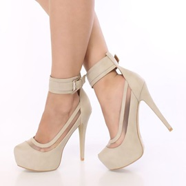 Patchwork Round Toe Chunky Heel Women's Pumps